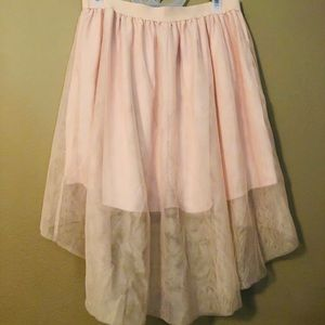 Pink high-low tulle skirt